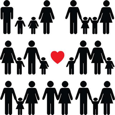bonhomme allumette: Ic�ne de la vie familiale d�finie en noir avec un coeur rouge