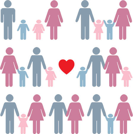 Family life icon set in color with a red heart Vector