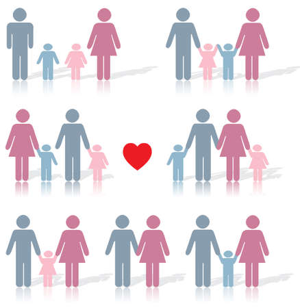 Family life icon set in black with a red heart as well as reflection underneath and shadow behind Stock Vector - 7305706