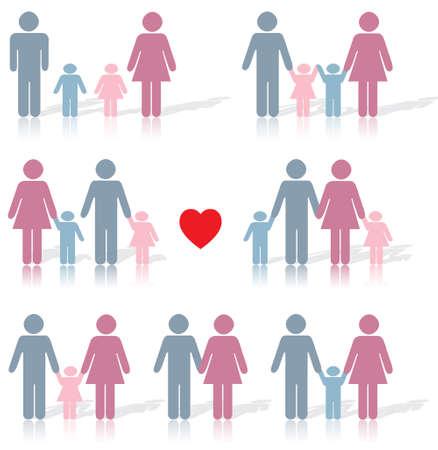 heterosexual: Icono de la vida familiar establecido en negro con un coraz�n rojo, as� como la reflexi�n debajo y la sombra detr�s de  Vectores