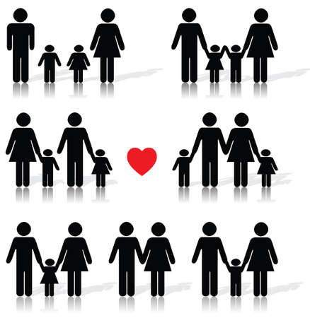 Family life icon set in black with a red heart, reflection, shadow Vector