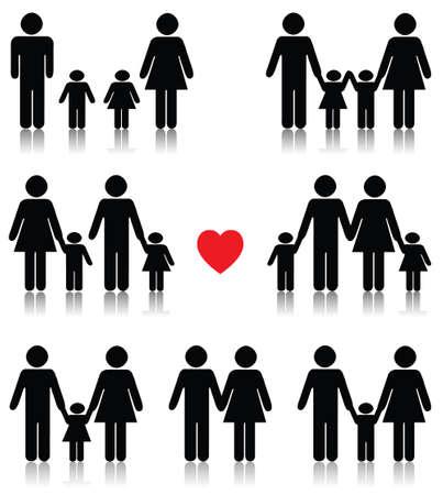 bonhomme allumette: Ic�ne de la vie familiale d�finie en noir avec un coeur rouge, r�flexion