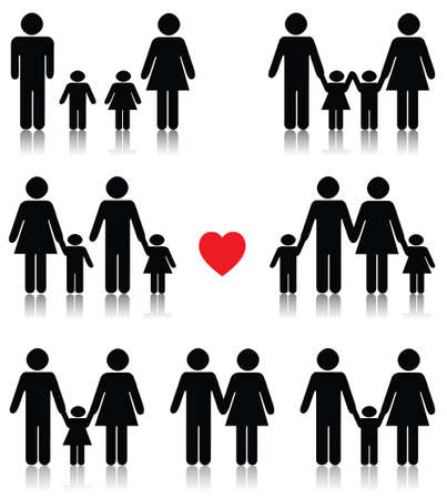convivencia familiar: Icono de la vida familiar establecido en negro con un coraz�n rojo, reflexi�n  Vectores
