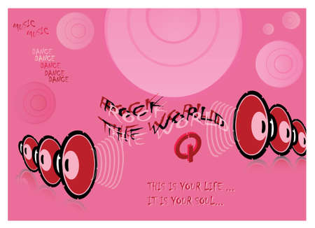 mp3 player: music dance pop concept illustration in pink tones