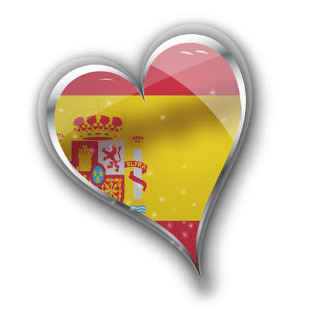 conquete: national flag of spain in heart shape with additional details Illustration