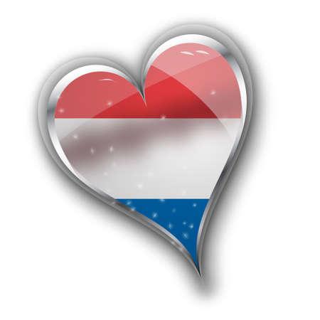 bandera nacional de los Países Bajos (Holanda) en forma de corazón con detalles adicionales
