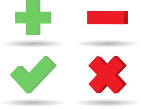 les icônes de web 3D de plus moins et approbation