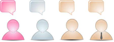 buddies: talking buddies in skin color, pink, blue Illustration