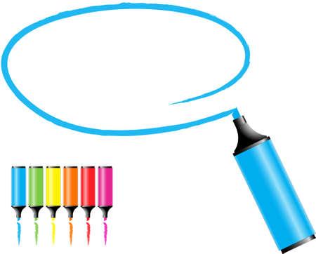 highlights: marcador de plumas con un �rea seleccionada en varios colores