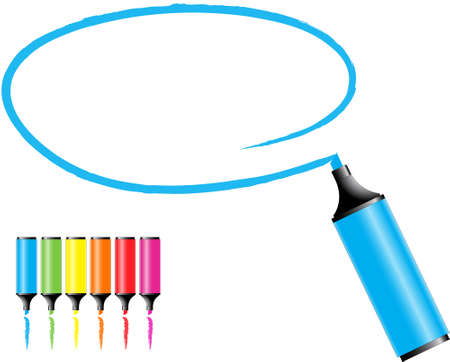 highlighter pen:  marker pens with a selected area in various colors