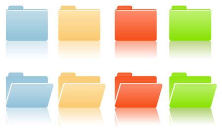 manila: cartelle di file con posto per etichetta in toni di colore blu, rosso, giallo, verde
