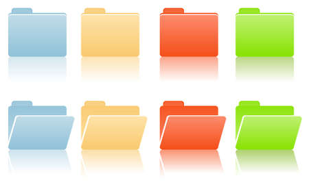 manila: file folders with place for label in blue, red, yellow, green color tones Illustration