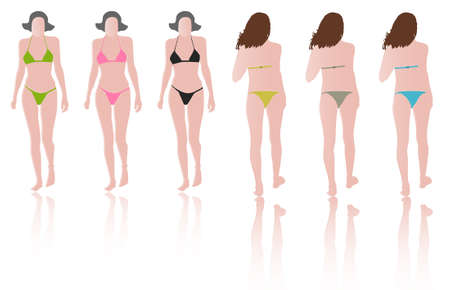 fashion models with green, pink, black, blue, grey bikinis on runway Stock Vector - 7394861