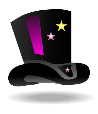 magic hat icon with stars of pink and yellow Vector