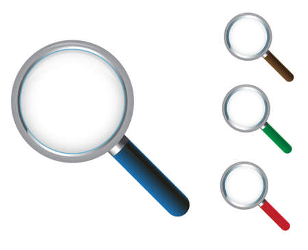 optical glass: magnifying glass icon in three different color base Illustration
