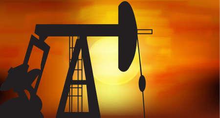yacimiento petrolero: Aceite de silhoutte de la bomba en negro contra de la creaci�n de sol