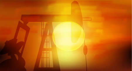 Oil Pump silhoutte in black against setting sun Stock Vector - 7394849