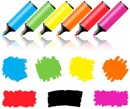 highlighter: Highlighter pen with scribbles on a blank piece of paper, your text can be added on colored area