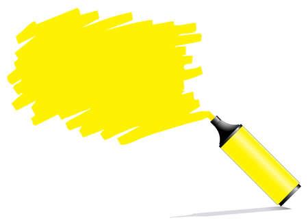 Penna evidenziatore con scarabocchia su un foglio bianco di carta, il testo può essere aggiunto su zona colorata
