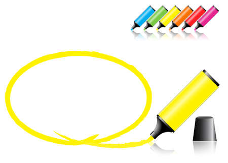 marker pens with a selected area in various colors Stock Vector - 7394867