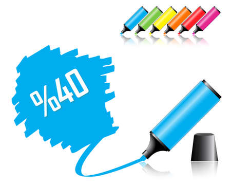 Highlighter pen with scribbles on a blank piece of paper, your text can be added on colored area Vector