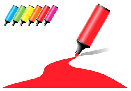 marker pens with a colored area in various color options Stock Vector - 7394858