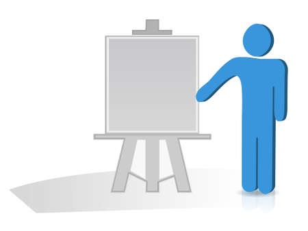 business planning: Man hand holding a pointing stick to an empty board Illustration