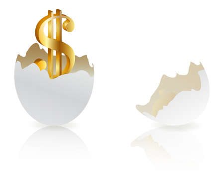 origins: Investment concept  with white egg shells isolated Illustration