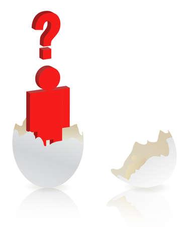 uovo rotto: simbolo di uomo con punto interrogativo di guscio bianco di uovo rotto isolato