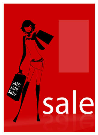 A young woman carrying shopping bags looking at an outdoor or shopping mall  Stock Vector - 7555423