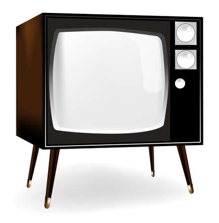 Stylish vintage TV icon in dark colors over white back ground Stock Vector - 7555428