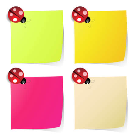 blank note paper in four colors like on classic fridge with ladybug magnet Vector