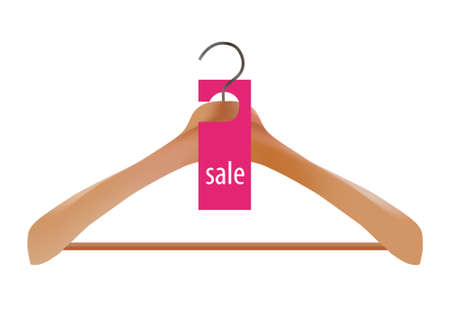 fashion label: Wooden coat hanger and sale tag illustration Illustration
