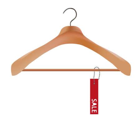 rebate: Wooden coat hanger and sale tag illustration Illustration