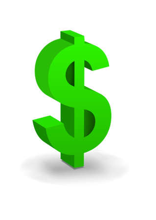 currency symbols: united states dollar sign symbol in green with drop shadow