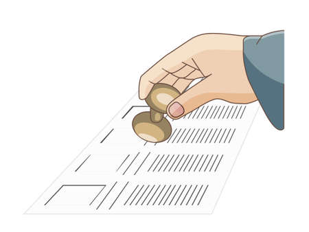 opposition: a man hand holding a seal on a ballot  to vote for or in opposition to a candidate Illustration