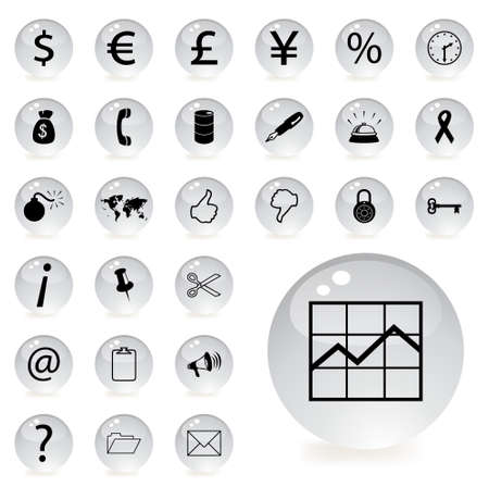 finance and banking icons in grey circular button with a shadow underneath Stock Vector - 7555429