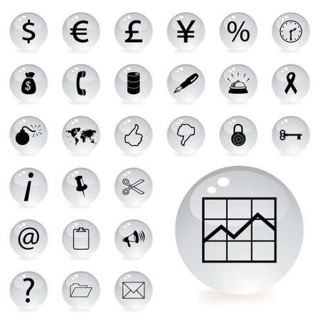 Finanzas y banca iconos en gris botón circular con una sombra debajo