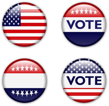 voter: vides bouton insigne de voter pour l'�lection des Etats-Unis Illustration