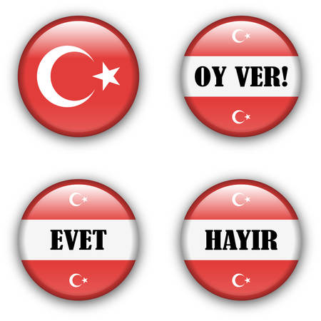 presidental:  yes or no vote badge button for turkish referendum election