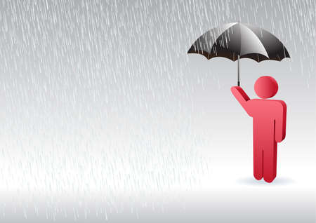 a character of man standing up in the rain with an umbrella in the hand Vector