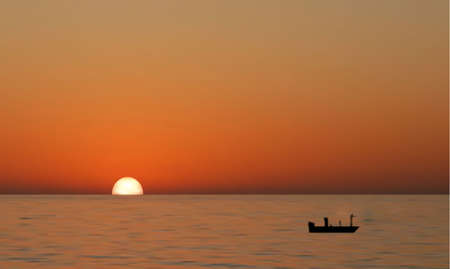 beaux paysages: une illustraion de concept de param�tre sun dans le fond orange dans les tons fonc�s Illustration