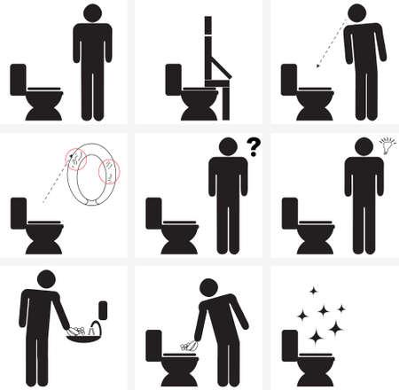afbeelding tekenen voor het reinigen van toilette / water closet (w.c.) na het gebruik ervan Vector Illustratie