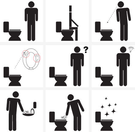 гардероб: illustration signs for cleaning of toilette  water closet (w.c.) after using it