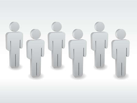 A group of characters standing one by one Vector