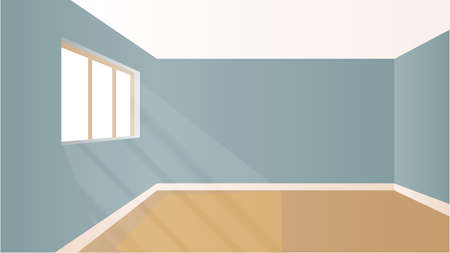 room wallpaper: Virtual model room with natural sun light coming from windows Illustration