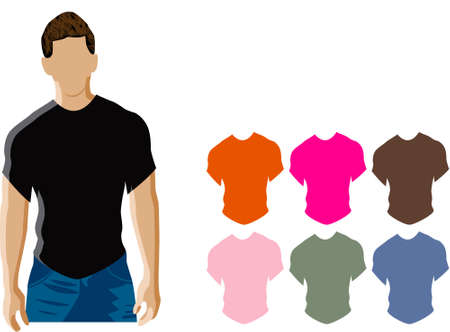 Man wearing a black t-shirt also there are additional t-shirt color templates  Stock Vector - 7728354