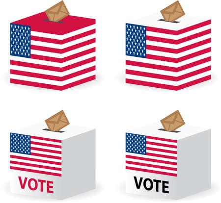 presidental: vote poll ballot box for united states election Illustration