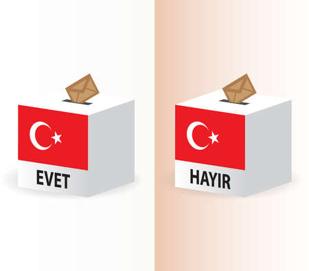 yes or no vote poll ballot box for turkish referendum election Stock Vector - 7728411
