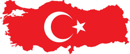 vector illustration of the map of Turkey, Turkish map with Turkish Flag Vector